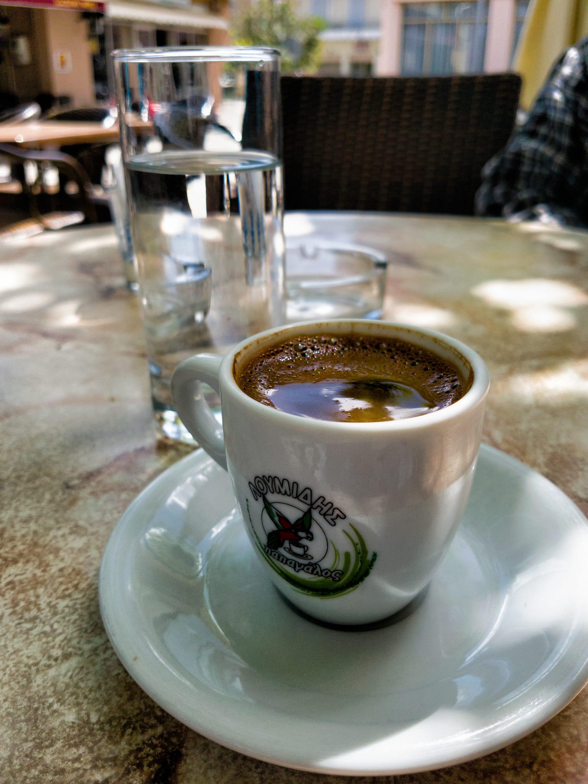 Greek coffee on the Xirokambi square